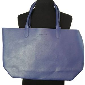 BLOOMINGDALE'S Blue LEOPARD Faux Leather Tote
